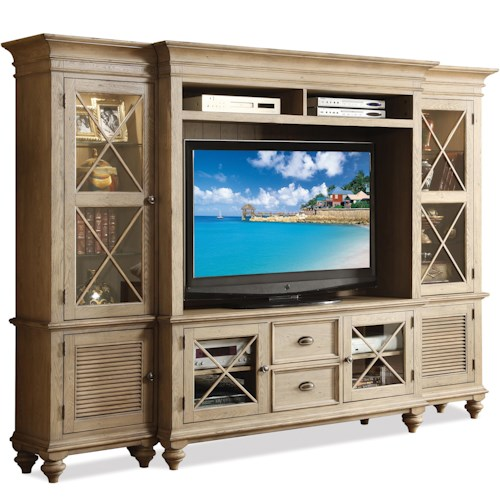 Riverside Furniture Coventry Entertainment Wall System with Framed Glass Doors