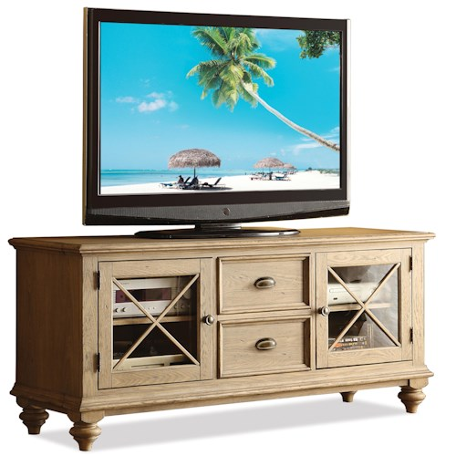 Riverside Furniture Coventry 2 Drawer TV Console with 2 Framed Glass Doors