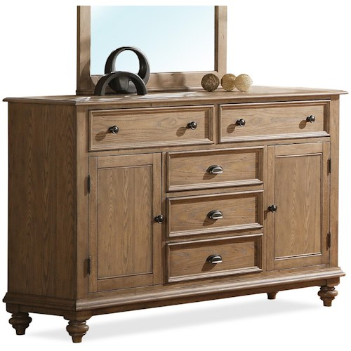 Riverside Furniture Coventry Panel Door Dresser with 5 Drawers