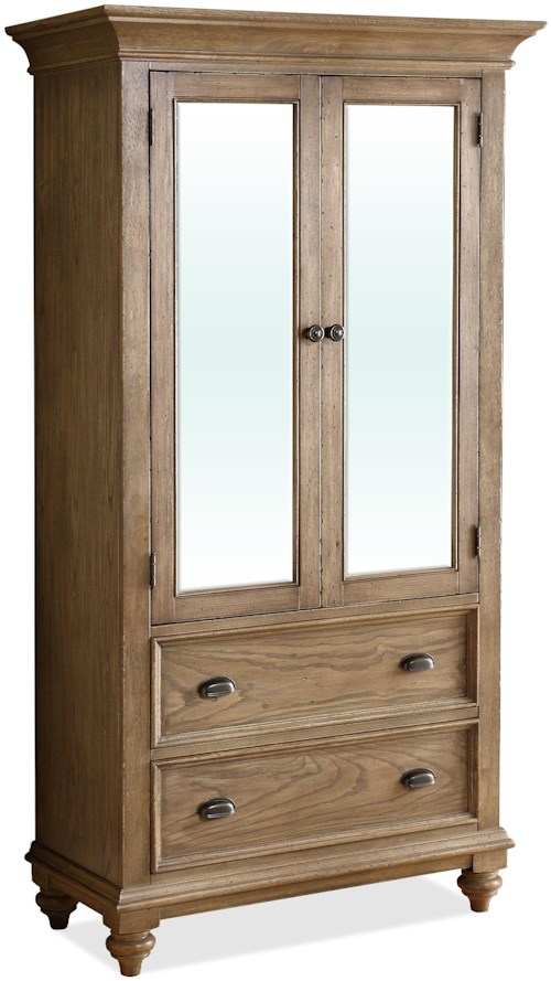 Riverside Furniture Coventry 2 Door Mirror Armoire with 5 Drawers