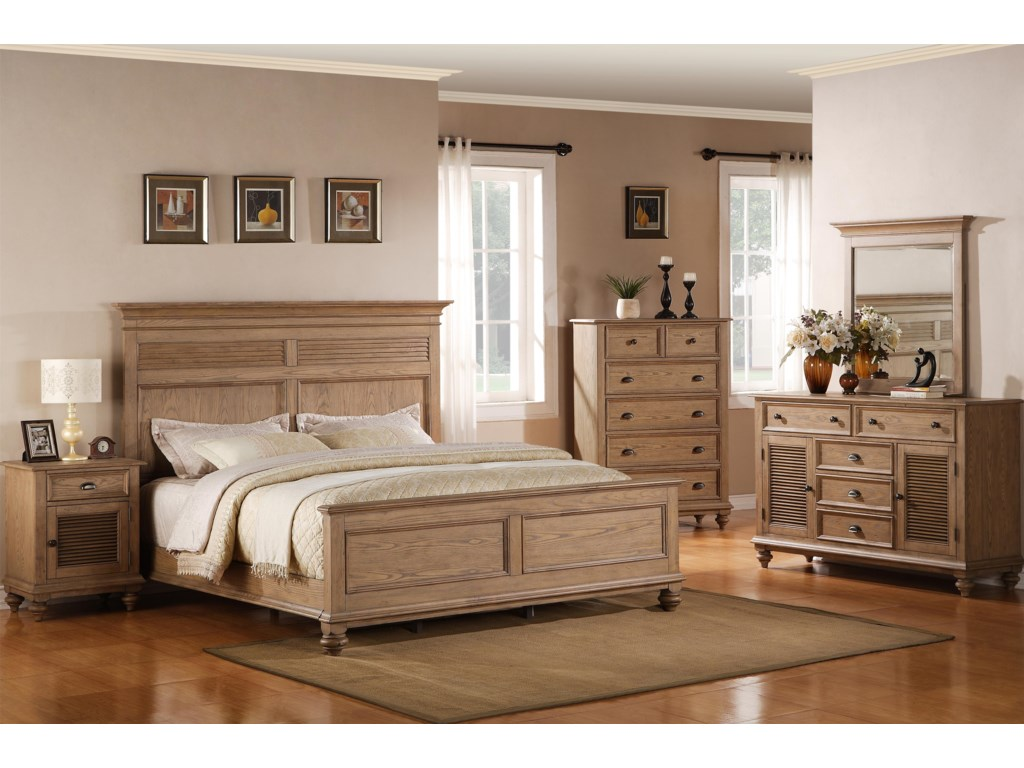 Shown in Bedroom with Night Stand, Panel Bed, Dresser & Mirror