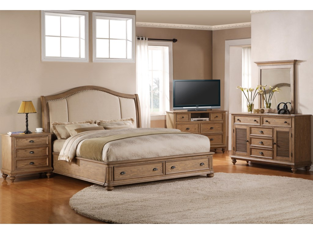 Shown with Night Stand, Upholstered Bed, Dresser & Mirror