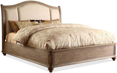 Riverside Furniture Coventry Full/Queen Upholstered Sleigh Headboard Bed with Nail Head Trim