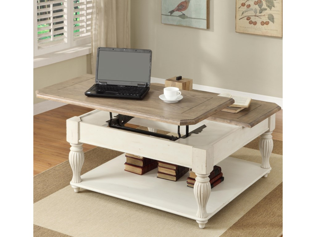 Riverside Furniture Coventry Two ToneLift-Top Square Coffee Table