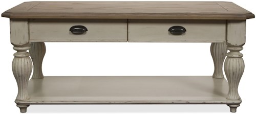 Riverside Furniture Coventry Two Tone Rectangular Cocktail Table with 2 Drawers
