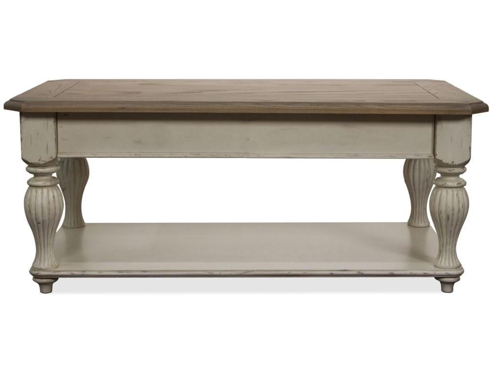 Riverside Furniture Coventry Two ToneLift-Top Rectangular Cocktail Table