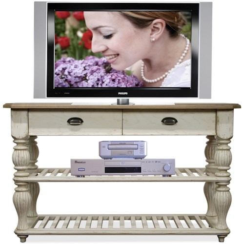 Riverside Furniture Coventry Two Tone Wood Slat Console Table with Drop-Front Drawers