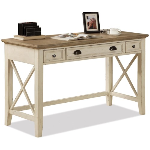Riverside Furniture Coventry Two Tone Writing Desk with 3 Drawers & Outlet Powerbar