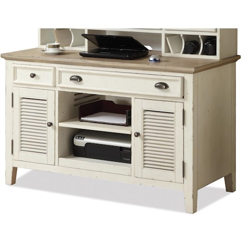 Riverside Furniture Coventry Two Tone Shutter Door Credenza Desk with 2 Drawers