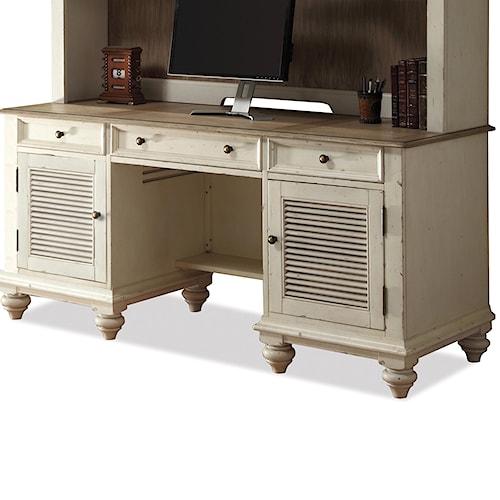 Riverside Furniture Coventry Two Tone Shutter Door Credenza Desk with 2 Doors