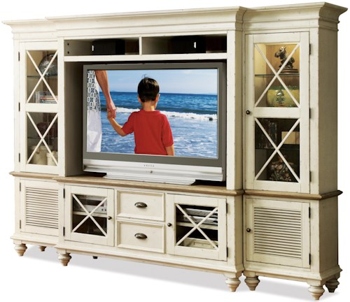 Riverside Furniture Coventry Two Tone Entertainment Wall System with Framed Glass Doors