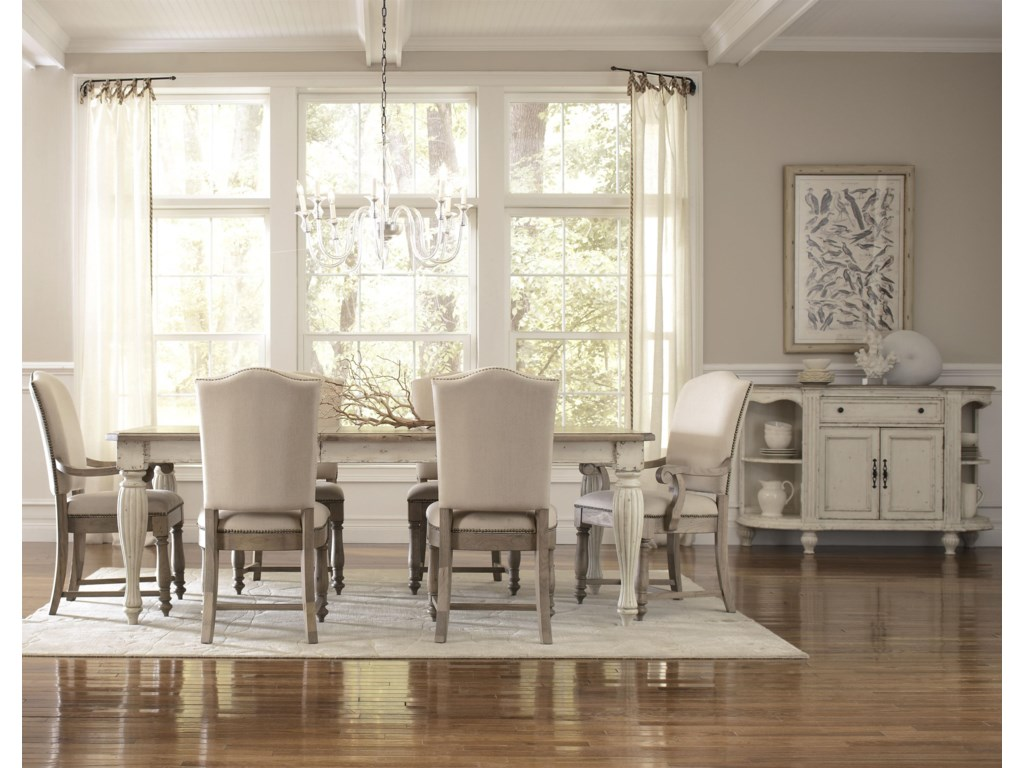Shown with Upholstered Arm & Side Chairs with Leaf