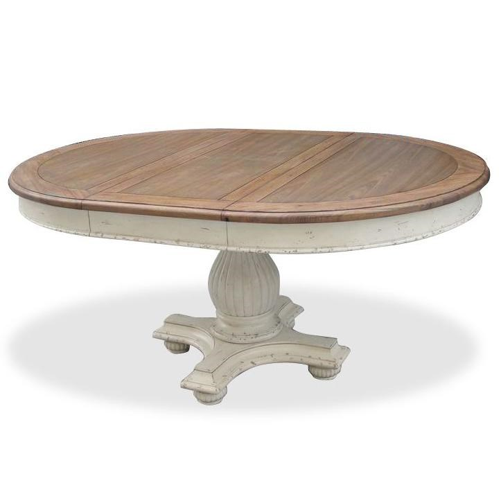 Round pedestal dining table Marble Riverside Furniture Coventry Two Toneround Dining Table Value City Furniture Riverside Furniture Coventry Two Tone Round Pedestal Dining Table