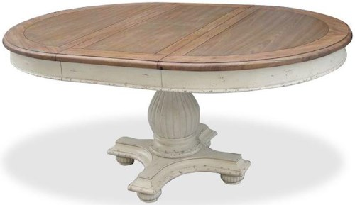Riverside Furniture Coventry Two Tone Round Pedestal Dining Table with 18