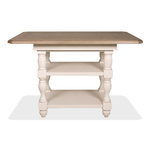 Riverside Furniture Coventry Two Tone Counter Height Dining Table with 2 Lower Inlay Shelves