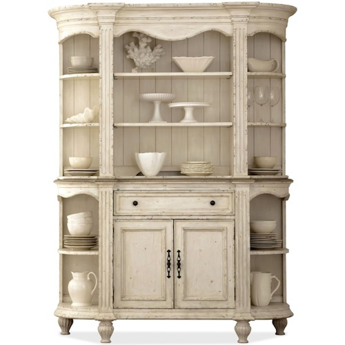 Riverside Furniture Coventry Two Tone 2 Door Server & Hutch with Plate Grooved Shelves