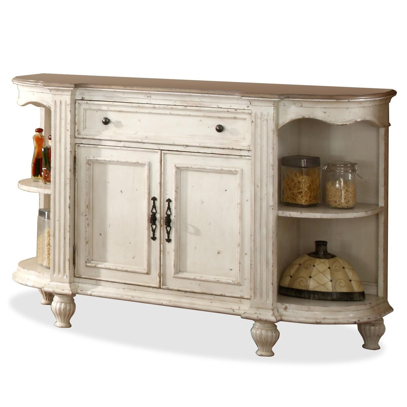 Great Riverside Furniture Coventry Two Tone 2 Door Buffet Server With Drop Front  Center Drawer U0026