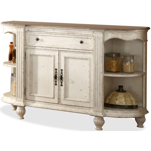 Riverside Furniture Coventry Two Tone 2 Door Buffet Server with Drop-Front Center Drawer & Adjustable Shelving