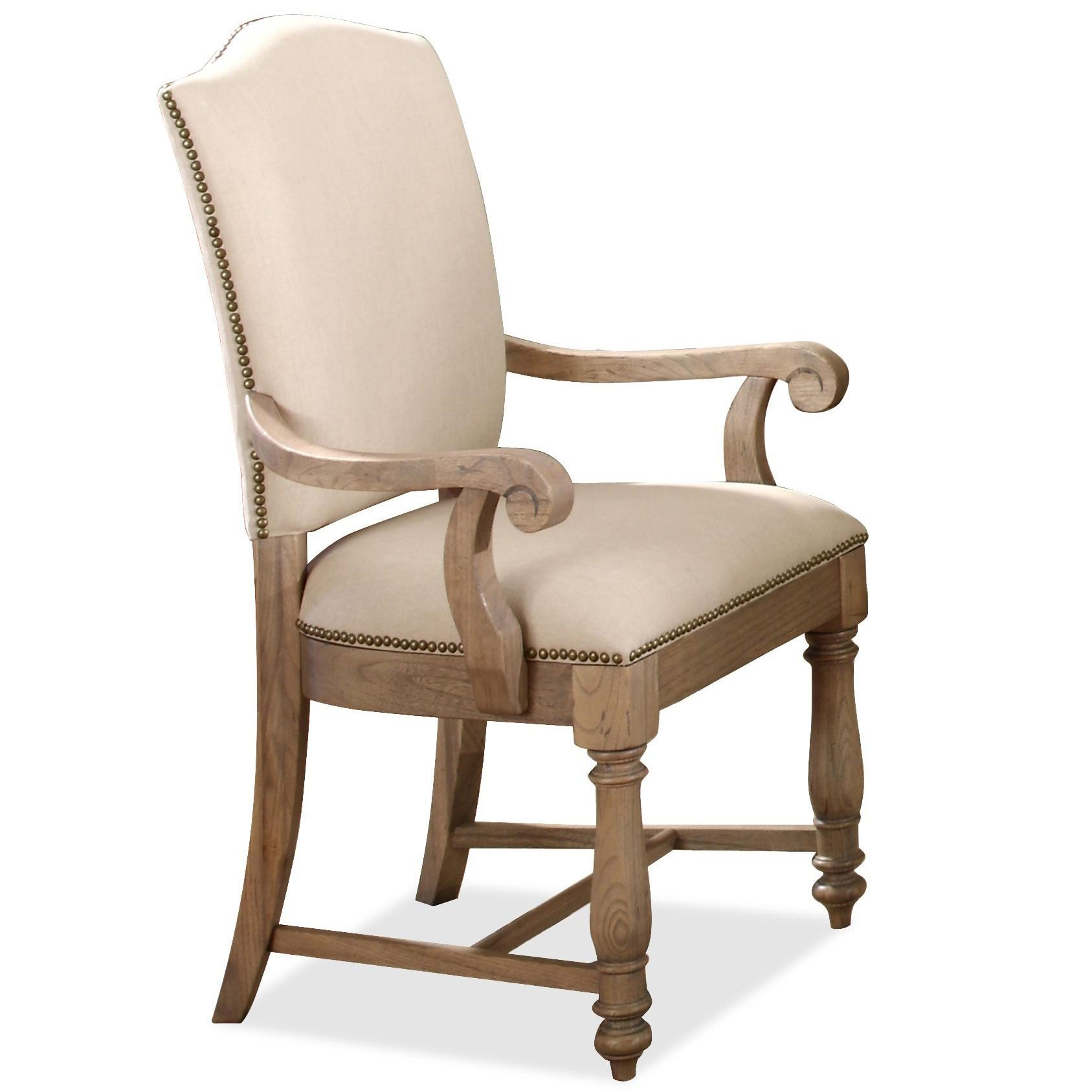 Riverside Furniture Coventry Two Tone Upholstered Arm Chair With Hammered  Nail Head Trim