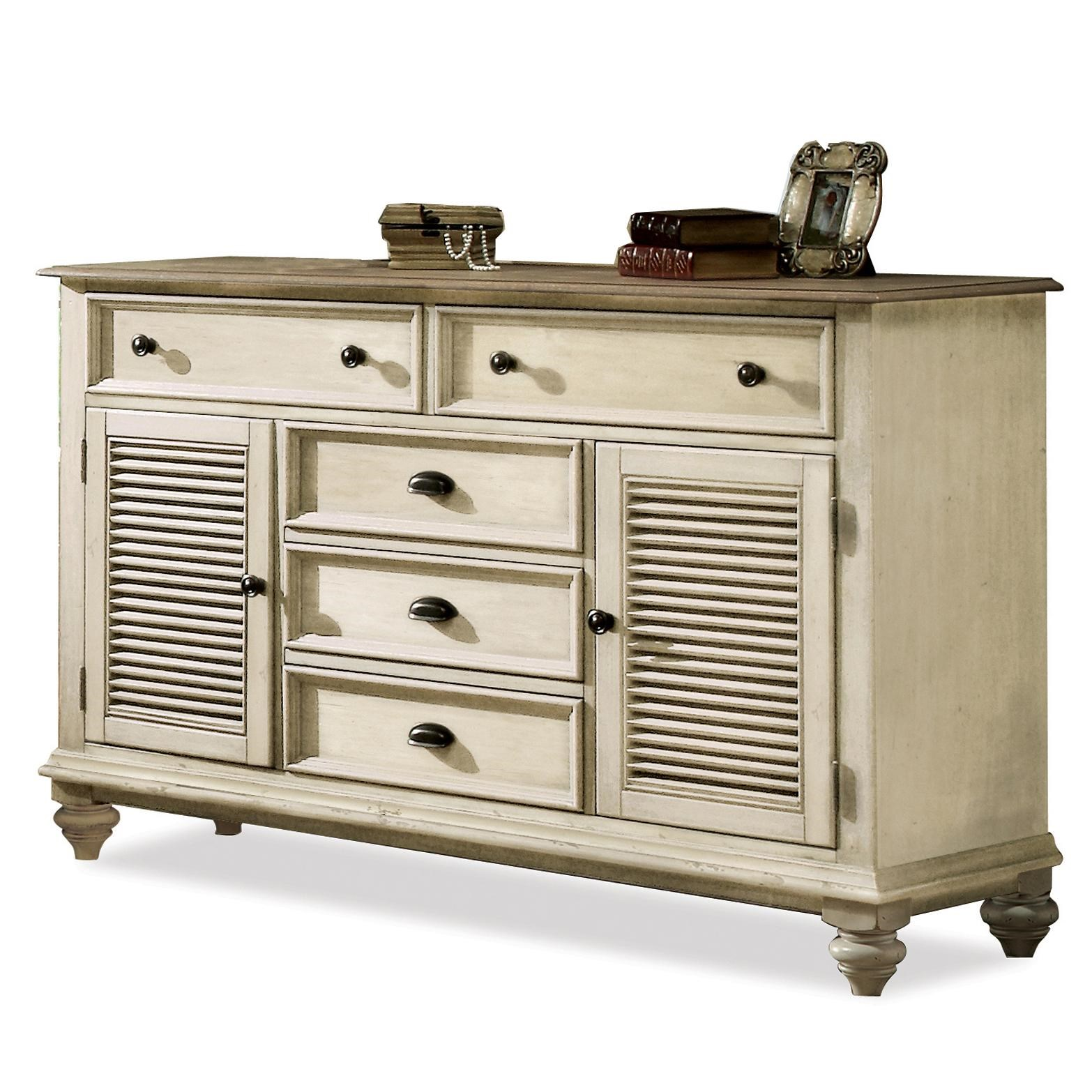 Riverside Furniture Coventry Two Tone Shutter Door Dresser With 5 Drawers U0026  Adjustable Shelving