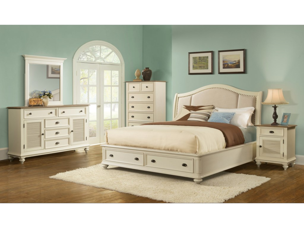 Riverside Furniture Coventry Two ToneKing Sleigh Upholstered Storage Bed