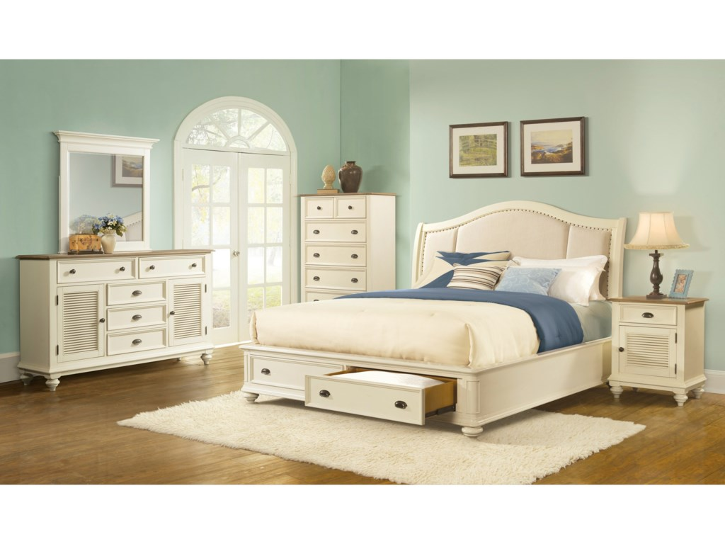 Riverside Furniture Coventry Two ToneCalifornia King Sleigh Uph Storage Bed