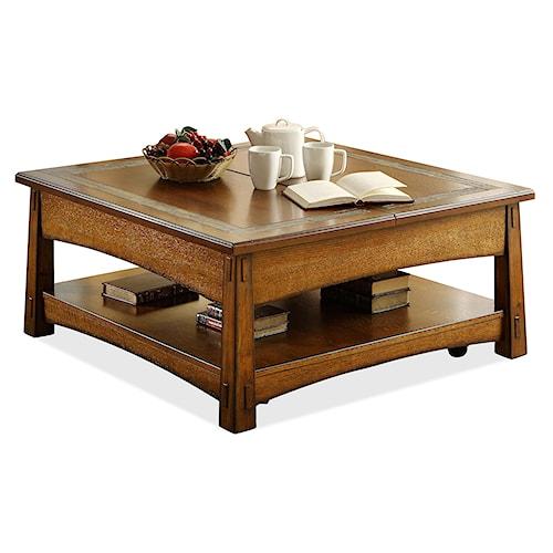 Riverside Furniture Craftsman Home Square Lift-Top Cocktail Table with Slat Tile Border