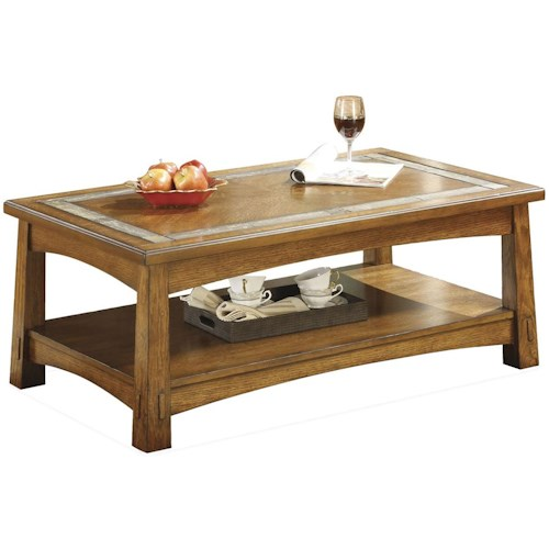 Riverside Furniture Craftsman Home Rectangular Coffee Table with a Slate Tile Boarder