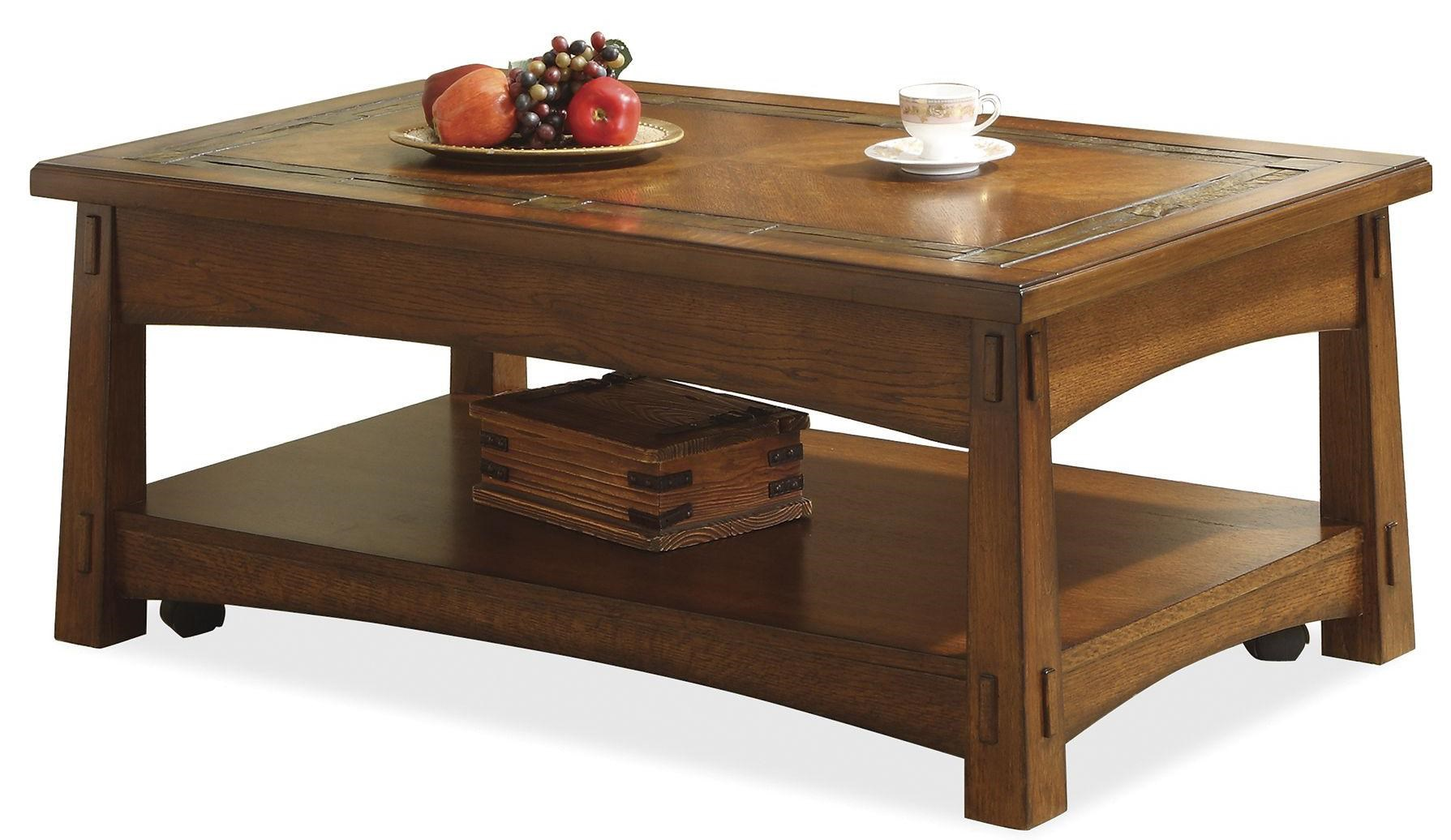 Riverside Furniture Craftsman Home Lift Top Coffee Table With Slate Tile  Border