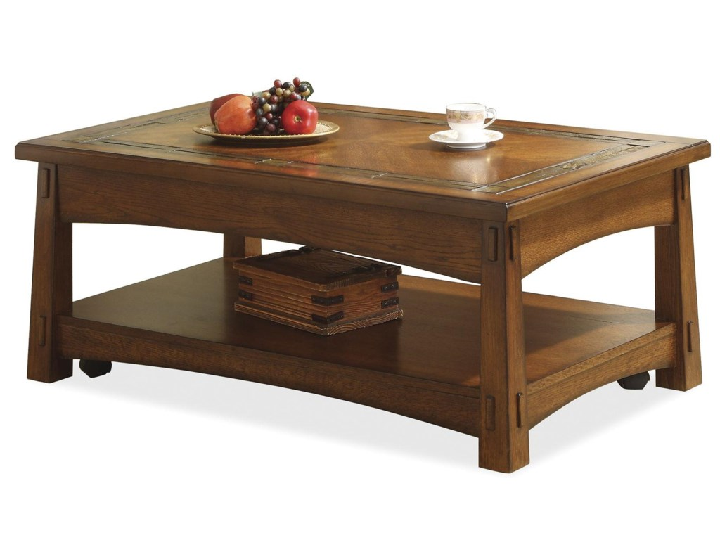 Riverside Furniture Craftsman Home Lift-Top Coffee Table with Slate ...
