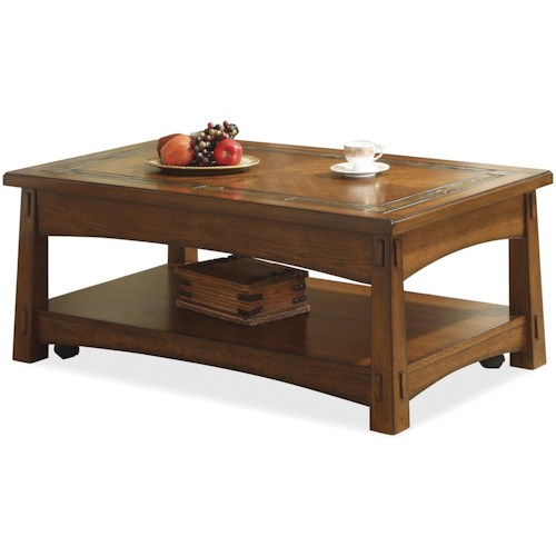 Riverside Furniture Craftsman Home Lift-Top Coffee Table with Slate Tile Border