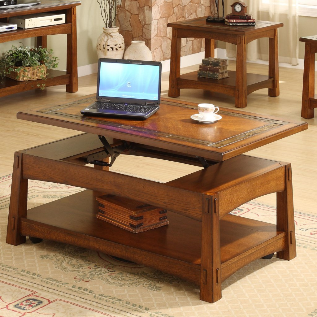 Riverside Furniture Craftsman Home Lift Top Coffee Table with