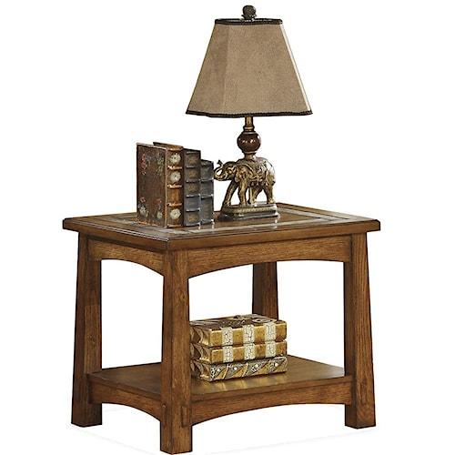 Riverside Furniture Craftsman Home Side Table with Slate Tile Boarder