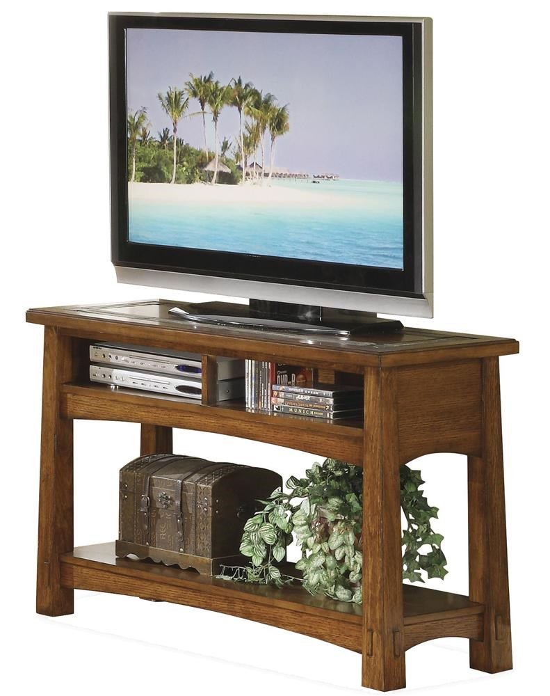 riverside furniture craftsman home console table with slate tile boarder - Riverside Furniture