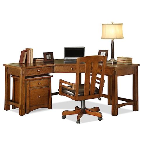 Riverside Furniture Craftsman Home 3 Drawer Corner Desk with Slat Tile Accents