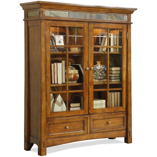 Riverside Furniture Craftsman Home 2 Glass Door Bookcase with Touch Accent Lights