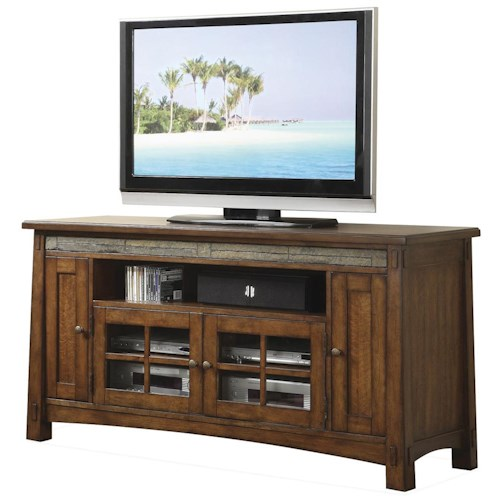 Riverside furniture craftsman home 62 inch tv console for Furniture 500 companies