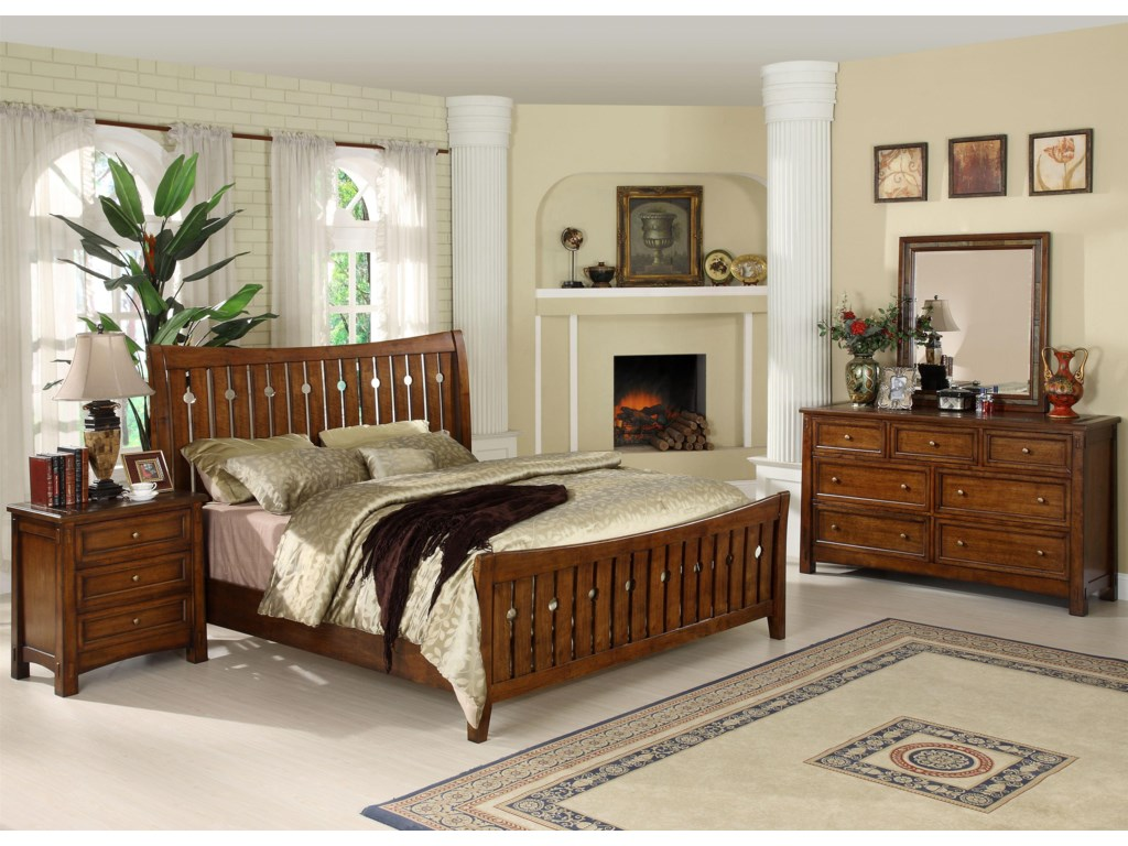 Shown with Night Stand, Slat Bed & Mirror