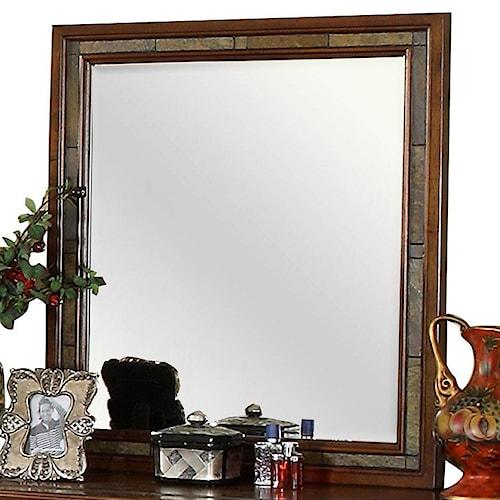 Riverside Furniture Craftsman Home Slate Tile Frame Dresser Mirror with Bevel