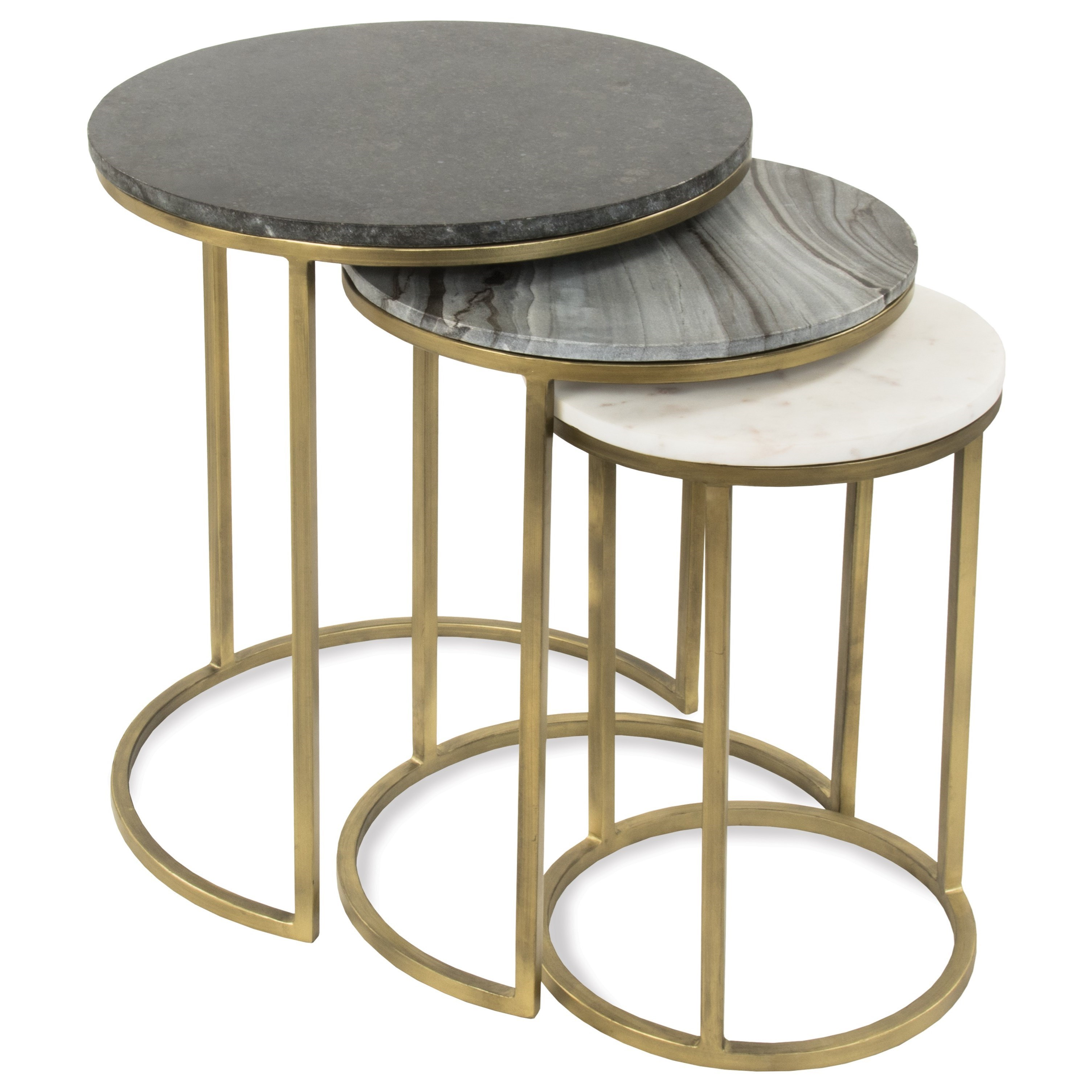 Riverside Furniture Dainna Nesting End Table Group With Tricolor Marble Tops