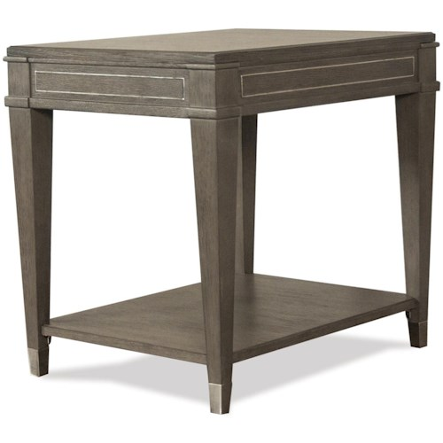 Riverside Furniture Dara II Rectangle End Table with Mirrored Accents