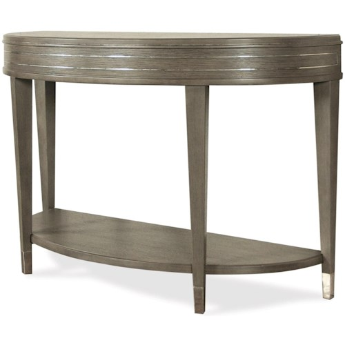 Riverside Furniture Dara II Demilune Sofa Table with Mirrored Accents