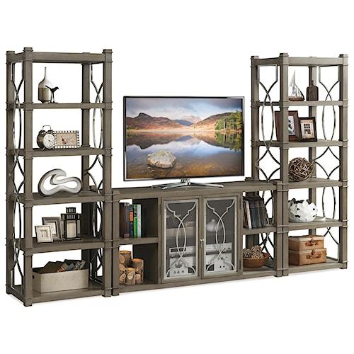 Riverside Furniture Dara II Entertainment Wall Unit with Decorative Metal Lattice