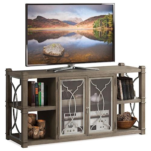 Riverside Furniture Dara II TV Stand with Glass Doors and Decorative Metal Lattice