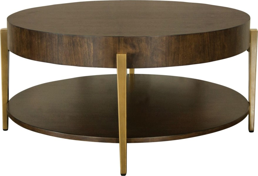 Dekker Round Tail Table With Gold Legs By Riverside Furniture At Dunk Bright