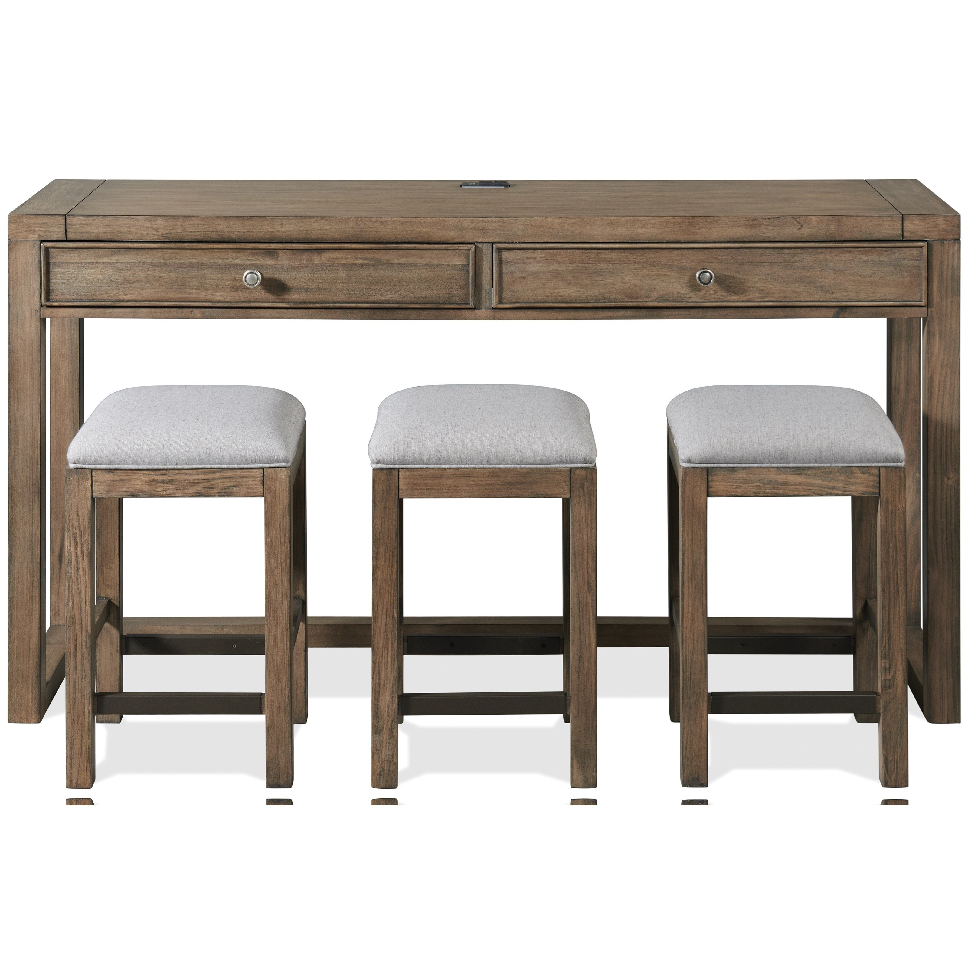 Contemporary Rustic Console Table with Stools, Outlets and USB Chargers