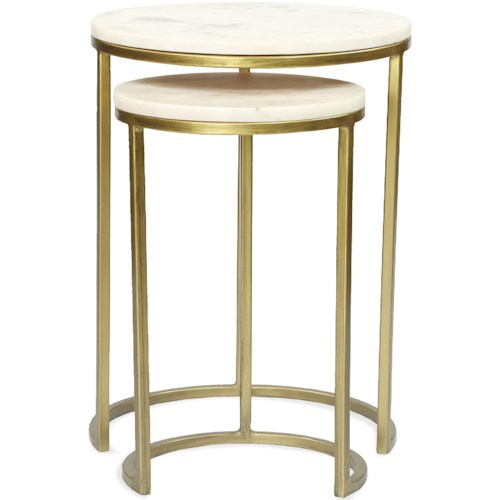 Riverside Furniture Edith Nesting Side Tables with Marble Tops