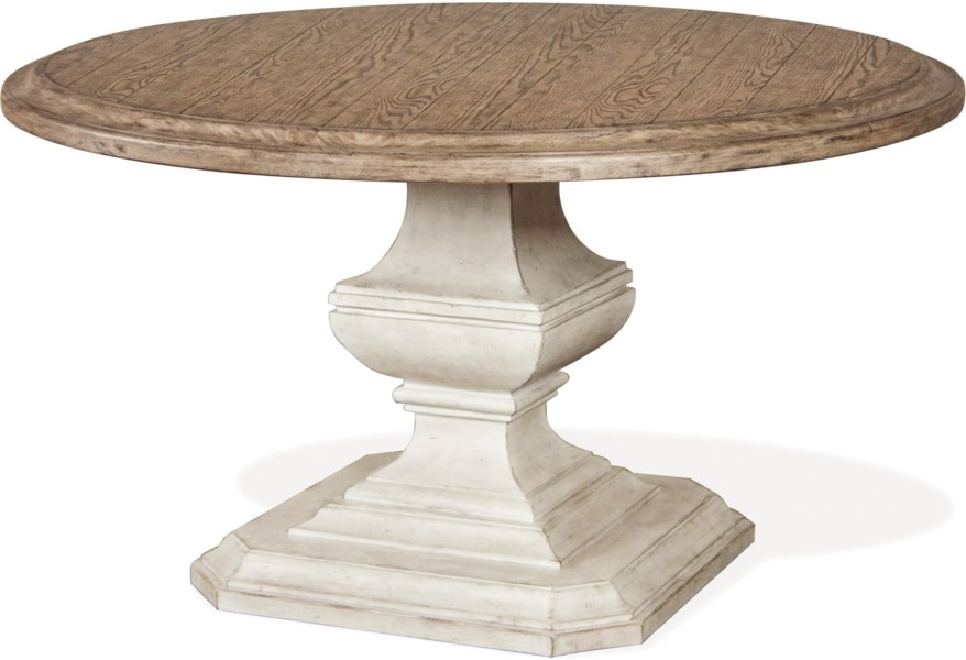 Riverside Furniture Elizabeth 71952 653 54 Inch Round Dining Table With Carved Pedestal O Dunk O Bright Furniture Kitchen Tables