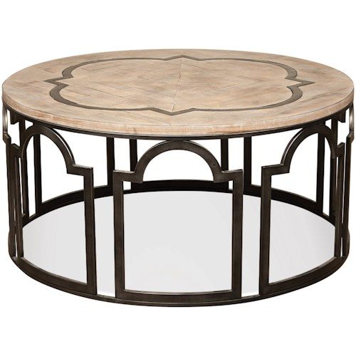Riverside Furniture Estelle Contemporary Rustic Round Cocktail Table with Reclaimed Wood Top