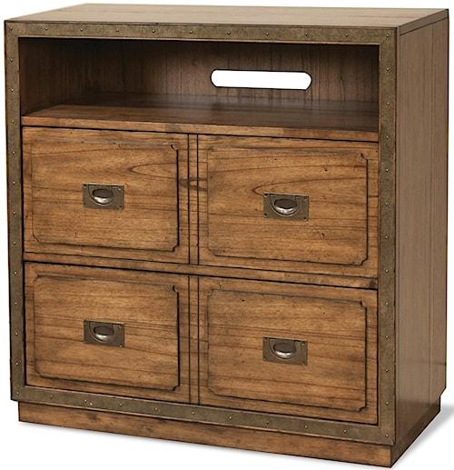 Riverside Furniture Falls Creek 4 Drawer Storage Unit with Open Electronic Storage Area